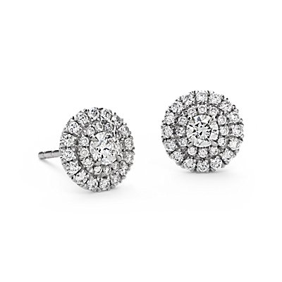 Puces d'oreilles double halo de diamants en or blanc 18 carats (3/4 carat, poids total)