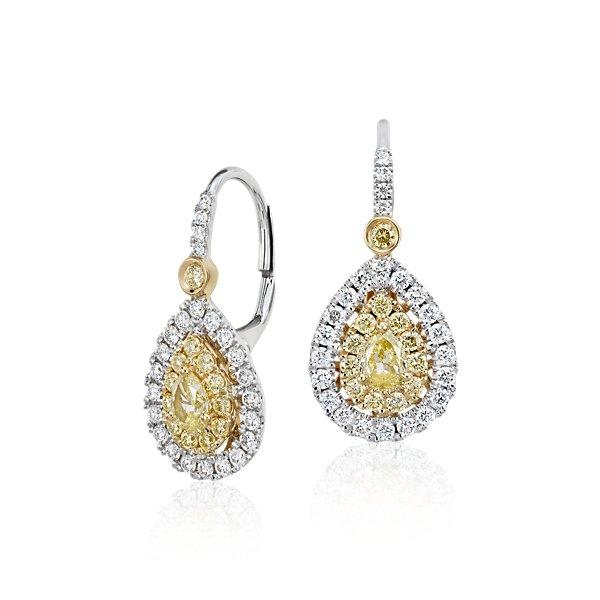 NUEVO. Aretes con doble halo de diamantes amarillos en forma de lágrima, en oro blanco y amarillo de 18k