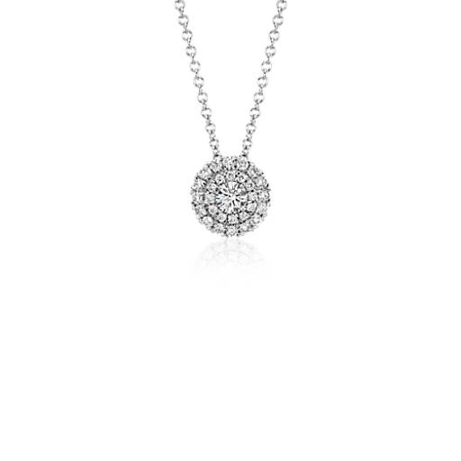 Double Halo Round Diamond Pendant in 18k White Gold
