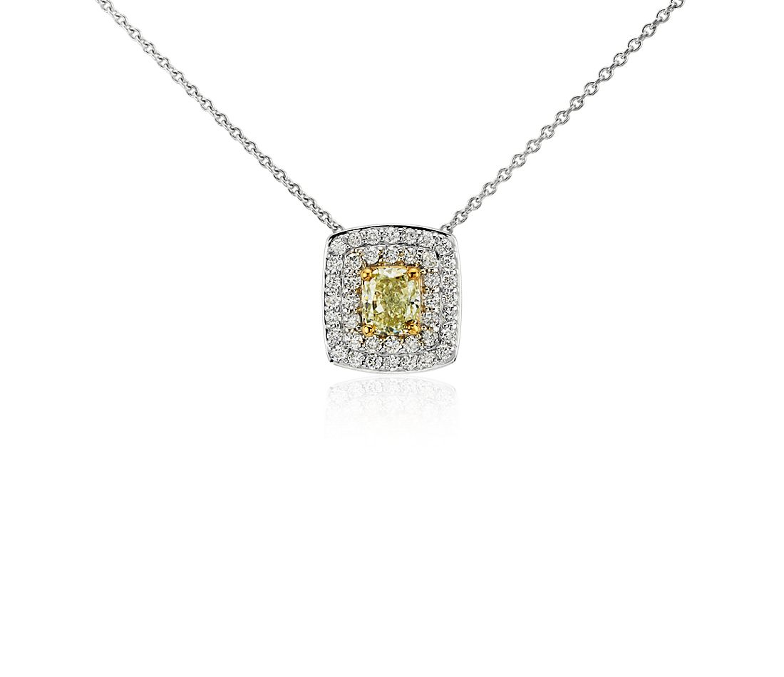 Double Halo Yellow Diamond Pendant in 18k White Gold (0.75 ct. tw.)