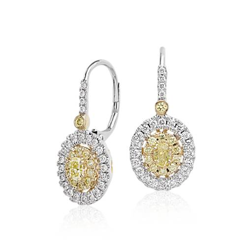 Pendants d'oreilles diamants jaunes et blancs double halo en or blanc et jaune 18 carats