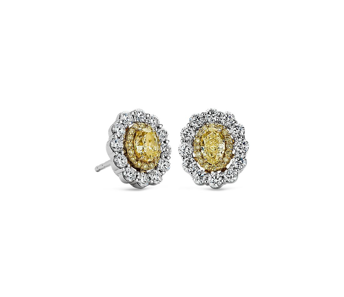 yellow diamond halo earrings - photo #44