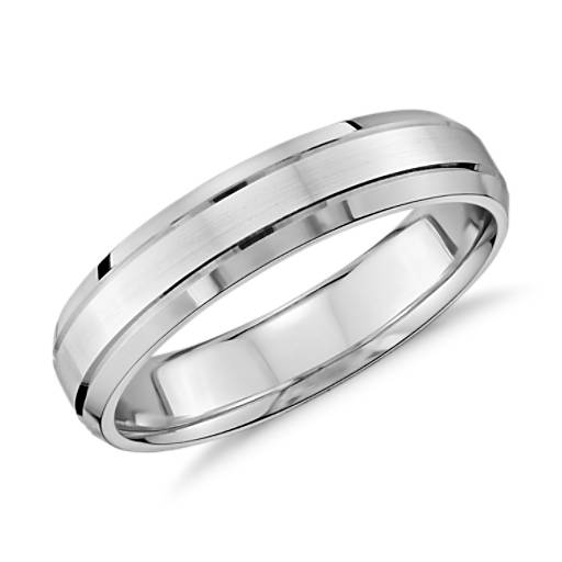 Double Inlay Comfort Fit Wedding Ring in 14k White Gold (5mm)