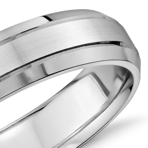 Alliance confort double incrustation en or blanc 14carats (5mm)