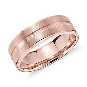 Alliance double incrustation en or rose 14 carats (7 mm)