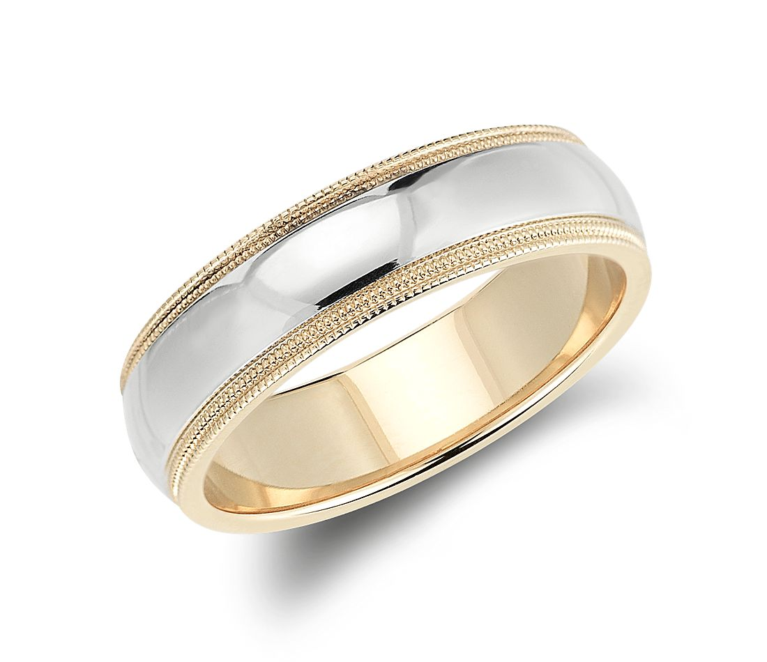 milgrain comfort fit wedding ring in 14k white and