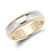 Double Milgrain Comfort Fit Wedding Ring in 14k White and Yellow Gold (6mm)