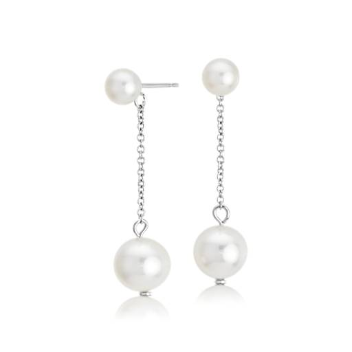 Freshwater Cultured Double Drop Pearl Earrings in 14k White Gold (4.5mm)