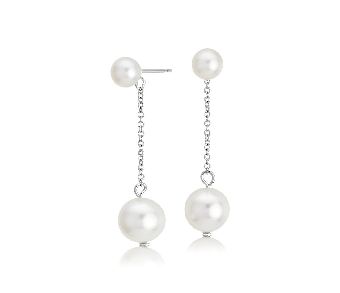 Freshwater Cultured Double Drop Pearl Earrings in 14k White Gold