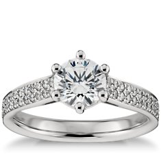 Double Row Pavé Diamond Engagement Ring in Platinum