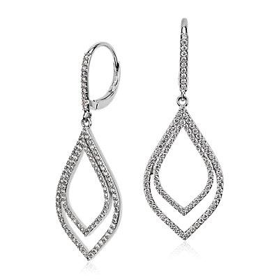 Double Teardrop Diamond Earrings in 18k White Gold