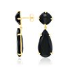 Black Onyx Drop Earrings in 18k Yellow Gold Vermeil