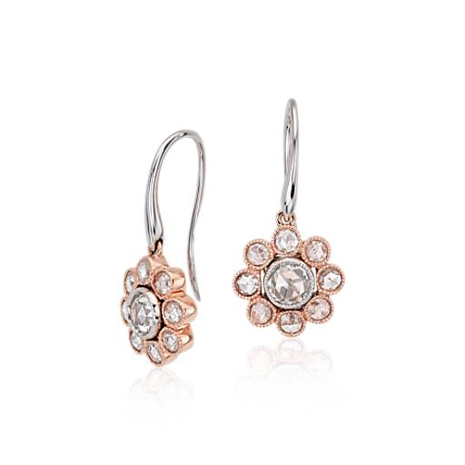Rose Cut Diamond Floral Drop Earrings 18K Rose Gold
