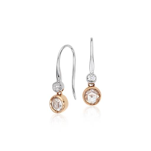 Rose Cut Diamond Solitaire Drop Earring 18k Rose and White Gold