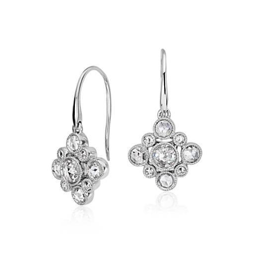 Rose Cut Diamond Cluster Drop Earring in 18k White Gold
