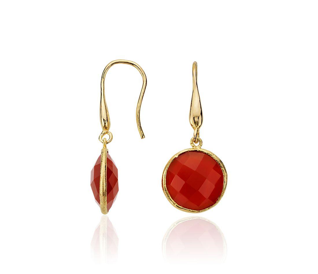 Red Agate Drop Earrings in Gold Vermeil