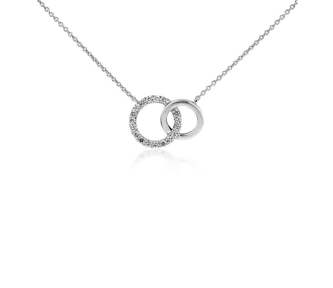 Mini collier en diamants double cercle en or blanc 14 carats