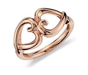 Duet Heart Ring in 14k Rose Gold