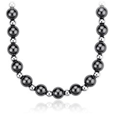 Black and White Bead Necklace in Sterling Silver