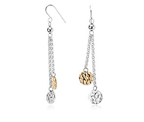 Duet Disc Chain Earrings in Sterling Silver with 14k Yellow Gold