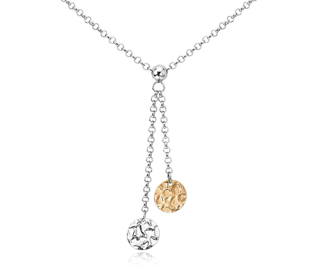 Collar de cadena con detalle de dos discos en plata de ley con oro amarillo de 14k