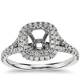 Duet Halo Engagement Ring in Platinum