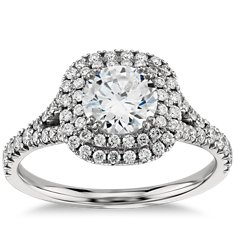 Duet Halo Diamond Engagement Ring in Platinum