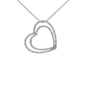 Duet Heart Diamond Necklace in 14k White Gold (3/4 ct. tw.)