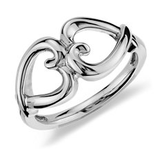 Duet Heart Ring in Sterling Silver