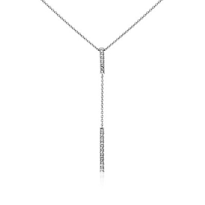 Diamond Bar Drop Necklace in 14k White Gold