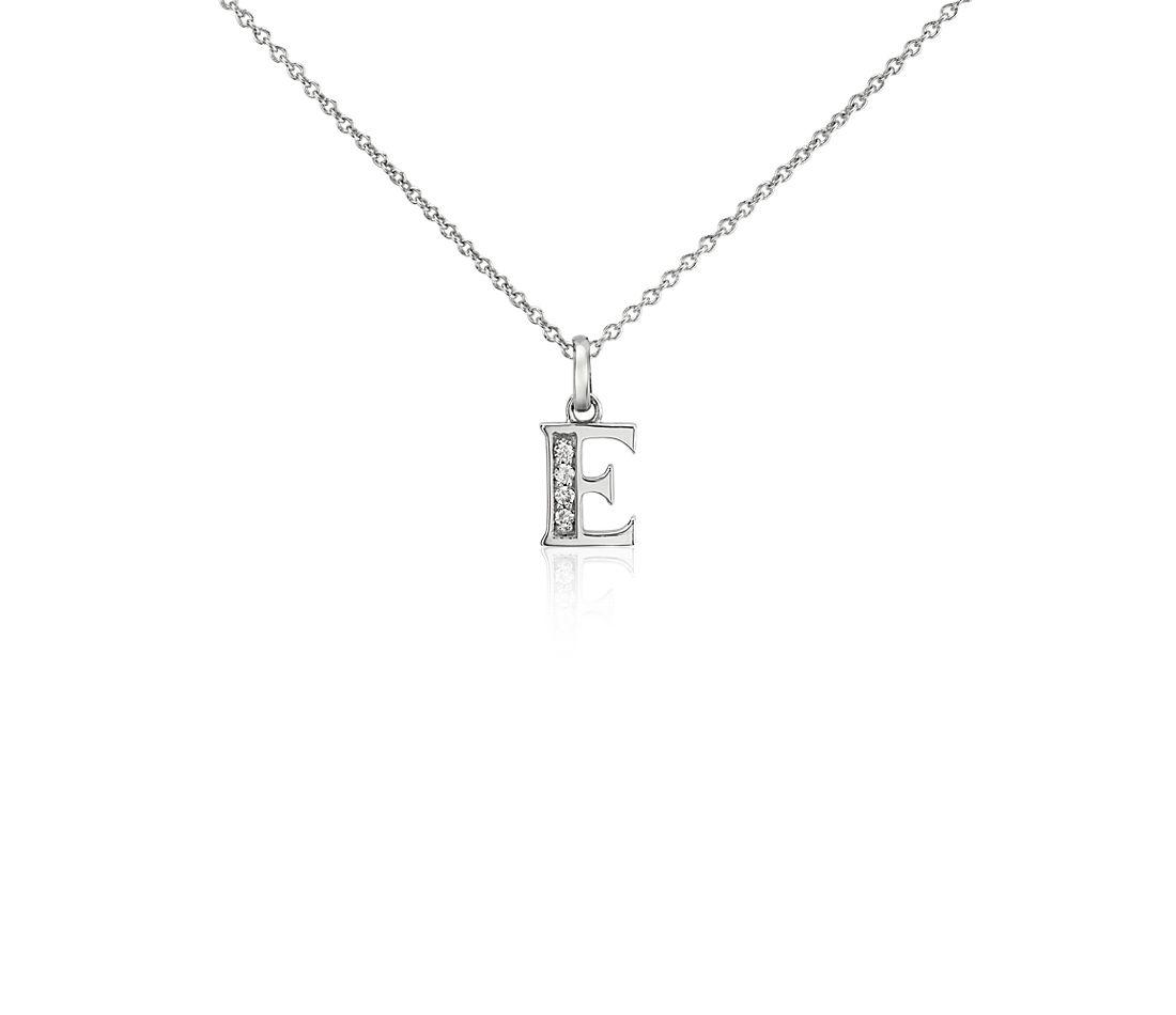 "Mini Initial ""E"" Diamond Pendant in 14k White Gold"