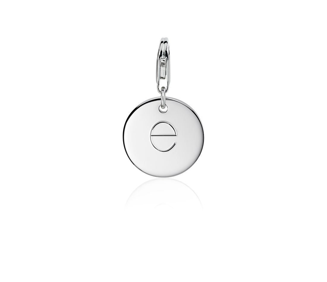 """E"" Initial Charm in Sterling Silver"