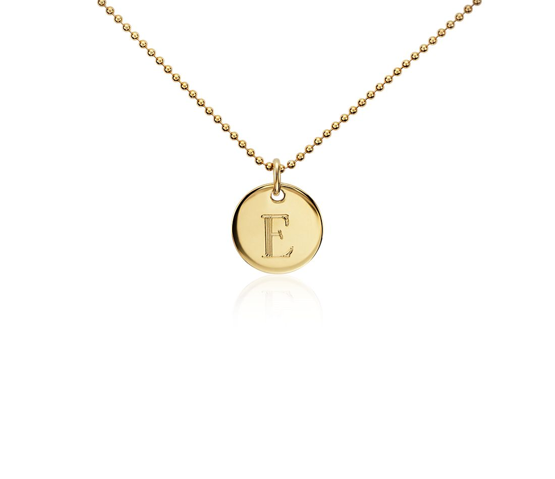 """E"" Mini Initial Pendant in Gold Vermeil"
