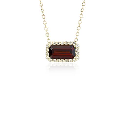 NEW Robert Leser East-West Garnet Halo Pendant in 14k Yellow Gold (11x5.5mm)