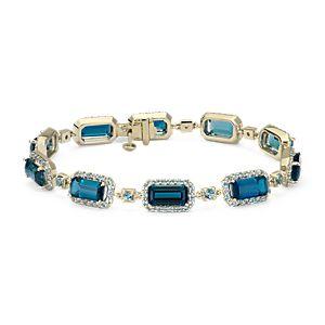 NOUVEAU Robert Leser East-West London Blue Topaz Bracelet en or jaune 14carats (9x4,5mm)