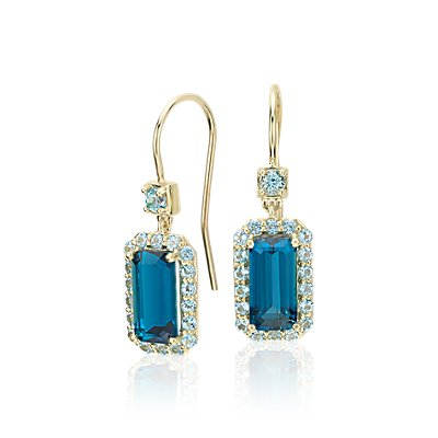 NEW Robert Leser East-West London Blue Topaz Halo Drop Earrings in 14k Yellow Gold (9x4.5mm)