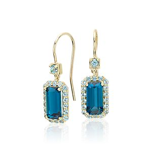 Robert Leser East-West London Blue Topaz Halo Drop Earrings in 14k Yellow Gold (9x4.5mm)