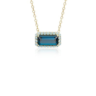 NEW Robert Leser East-West London Blue Topaz Halo Pendant in 14k Yellow Gold (11x5.5mm)