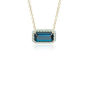 Robert Leser East-West London Blue Topaz Halo Pendant in 14k Yellow Gold (11x5.5mm)