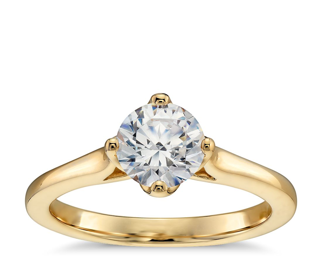 east west solitaire engagement ring in 14k yellow gold. Black Bedroom Furniture Sets. Home Design Ideas