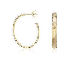 Embellished Oval Hoop Earrings in 14k Yellow Gold
