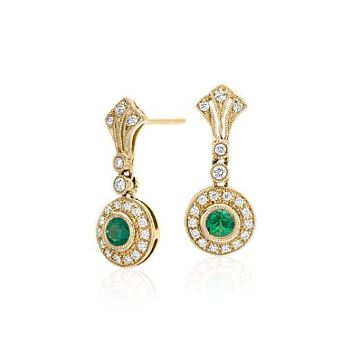 NEW Emerald and Diamond Vintage-Inspired Milgrain Earrings in 14k Yellow Gold (3.5mm)