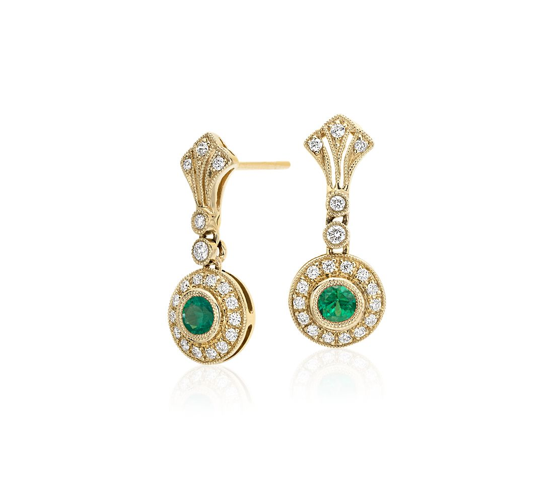 emerald and vintage inspired milgrain earrings in