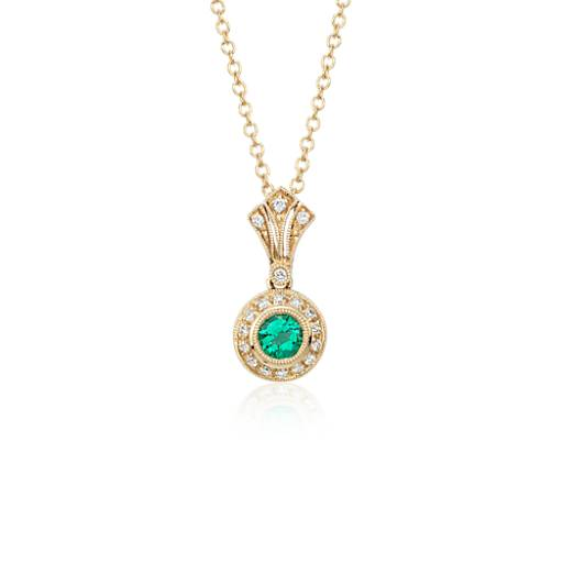 NEW Emerald and Diamond Vintage-Inspired Milgrain Pendant in 14k Yellow Gold (4mm)