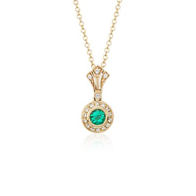 Emerald and Diamond Vintage-Inspired Milgrain Pendant in 14k Yellow Gold (4mm)