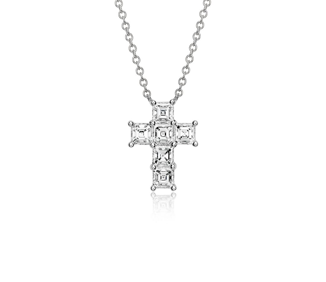 Asscher-Cut Diamond Cross Pendant in 18k White Gold (2 ct. tw.)