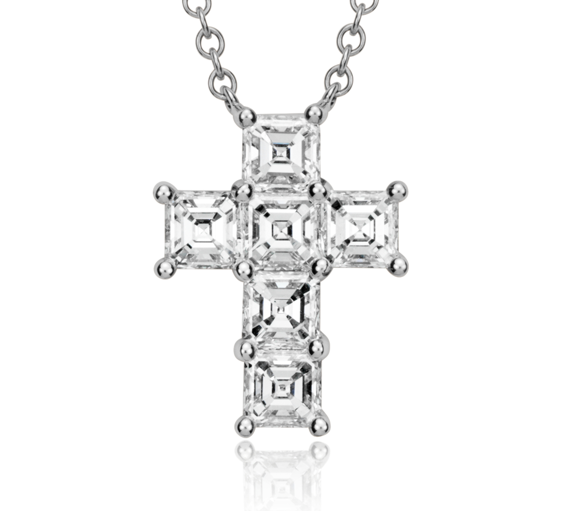 Croix pendentif diamant taille Assher en or blanc 18carats (2carats, poids total)