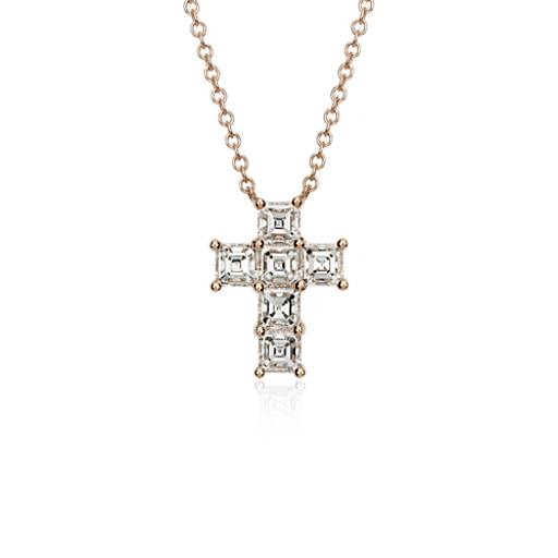 Asscher-Cut Diamond Cross Pendant in 18k Rose Gold (2 ct. tw.)
