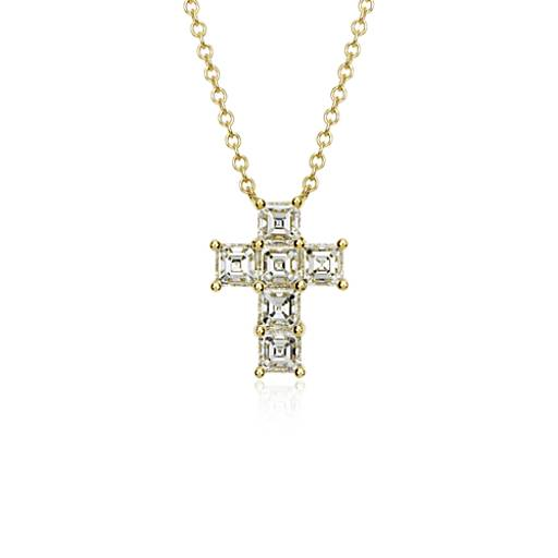 Asscher-Cut Diamond Cross Pendant in 18k Yellow Gold (2 ct. tw.)