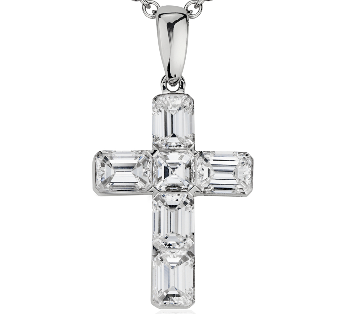 Emerald and Asscher-Cut Diamond Cross Pendant in 18k White Gold (2 ct. tw.)
